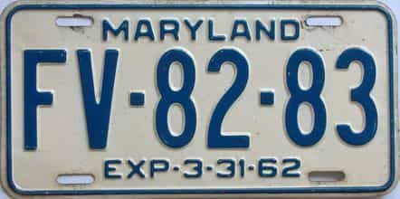 1962 Maryland (Single) license plate for sale