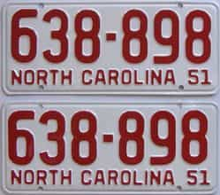 RESTORED 1951 North Carolina (Pair) license plate for sale