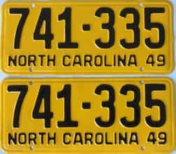 RESTORED 1949 North Carolina (Pair) license plate for sale