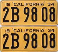 YOM RESTORED 1934 California (Pair) license plate for sale