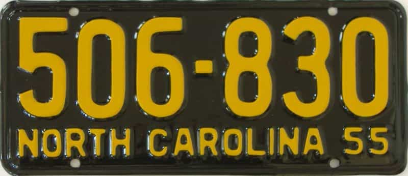 RESTORED 1955 North Carolina (Single) license plate for sale
