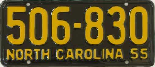 RESTORED 1955 North Carolina (Single) license plate for sale