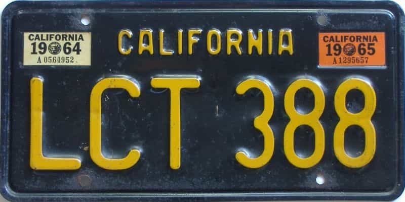 1965 California (Single) license plate for sale