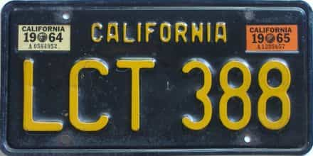 1965 California  (Single) license plate for sale