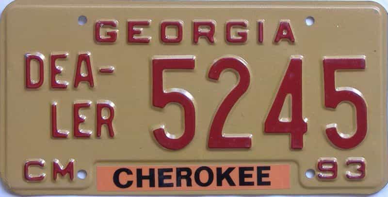 1993 Georgia (Dealer) license plate for sale