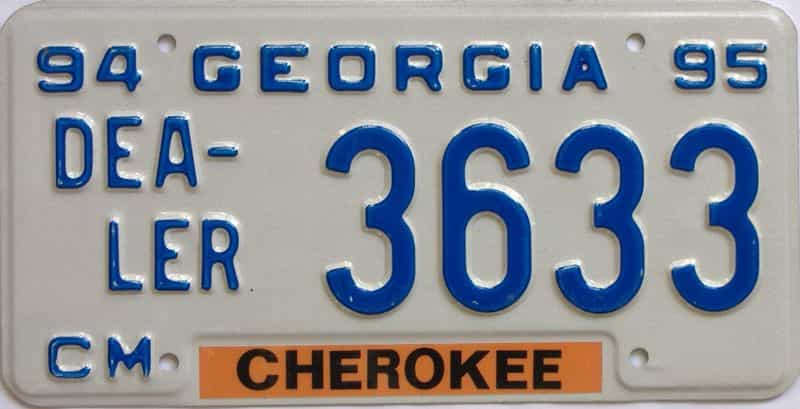 1994 Georgia (Dealer) license plate for sale