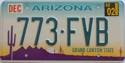 2002 Arizona license plate for sale