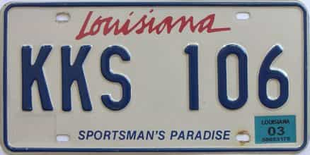 2003 Louisiana (Natural) license plate for sale