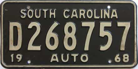 1968 South Carolina (Single) license plate for sale