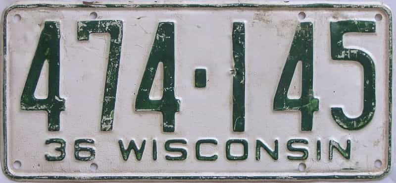 1936 Wisconsin  (Single) license plate for sale
