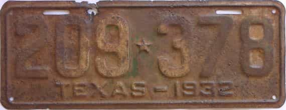 1932 Texas (Single) license plate for sale