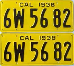 RESTORED 1938 California  (Pair) license plate for sale