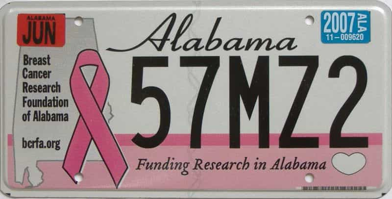 2007 Alabama (Natural) license plate for sale