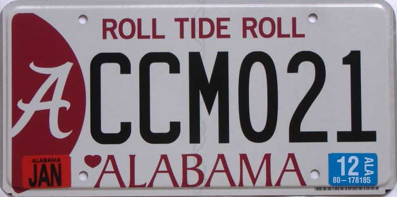 2012 Alabama  (Natural) license plate for sale