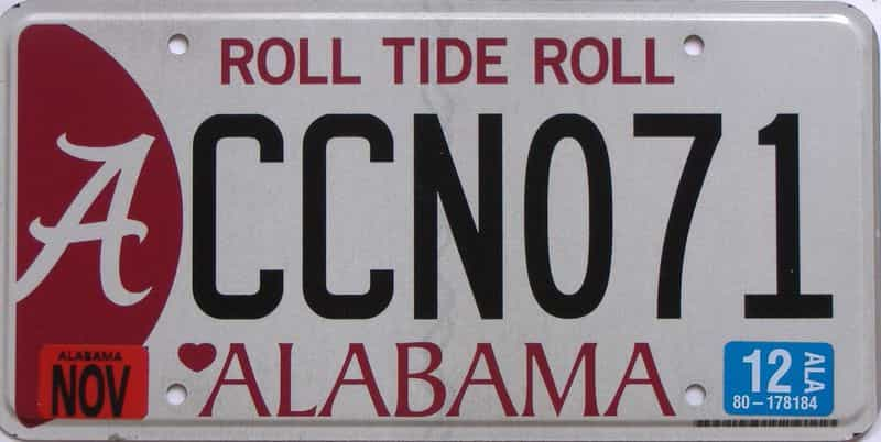 2012 Alabama  (Natural) license plate for sale