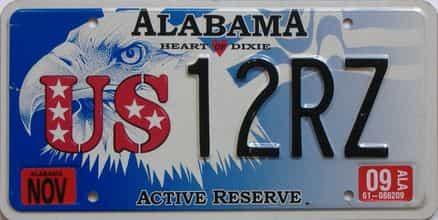 2009 Alabama (Natural) license plate for sale