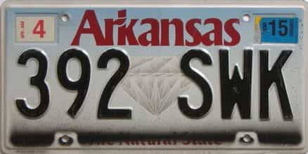 2015 Arkansas license plate for sale