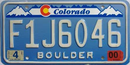 2000 Colorado (Single) license plate for sale