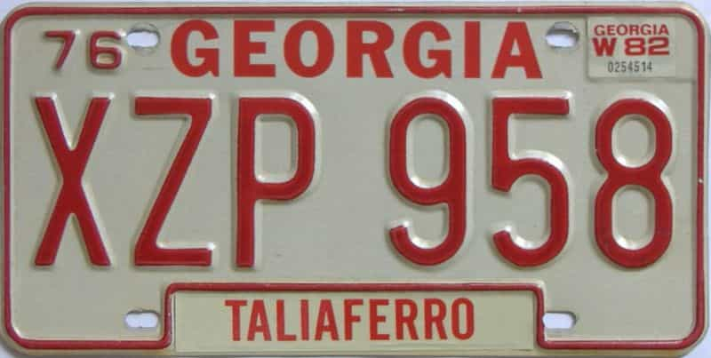 YOM 1982 Georgia  (Natural) license plate for sale
