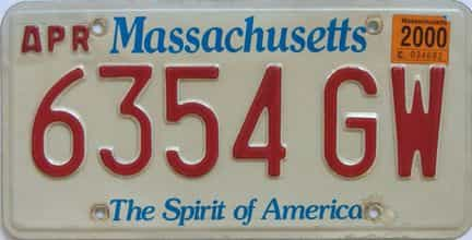 2000 Massachusetts license plate for sale