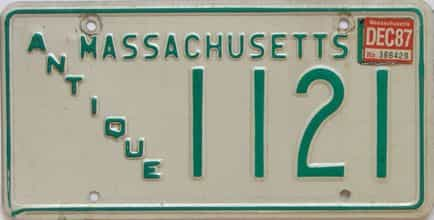 1987 Massachusetts license plate for sale