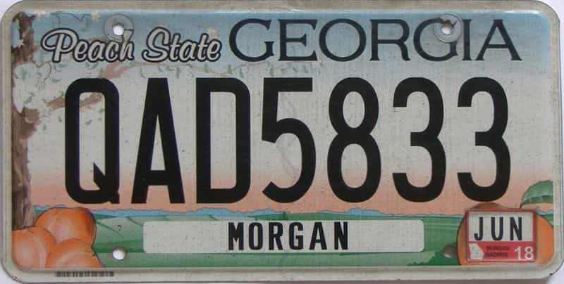 2018 Georgia Counties (Morgan) license plate for sale