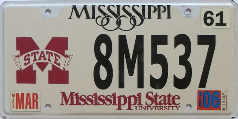 2006 Mississippi license plate for sale
