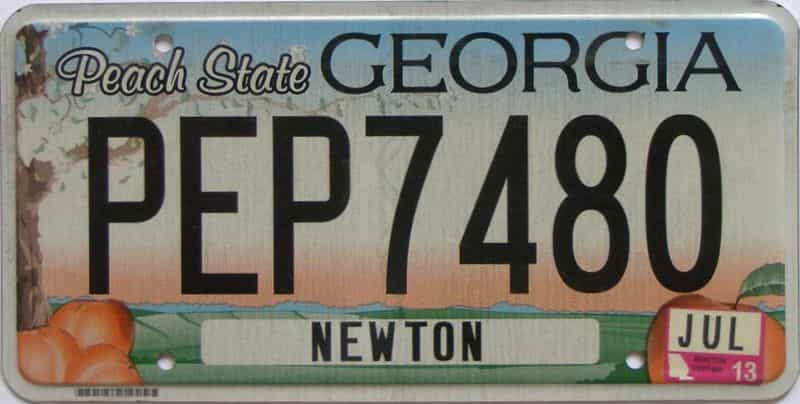 2013 Georgia Counties (Newton) license plate for sale
