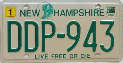 2000 New Hampshire  (Single) license plate for sale