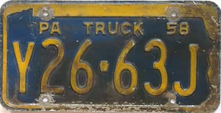 1958 Pennsylvania (Truck) license plate for sale