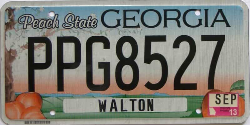 2013 Georgia Counties (Walton) license plate for sale