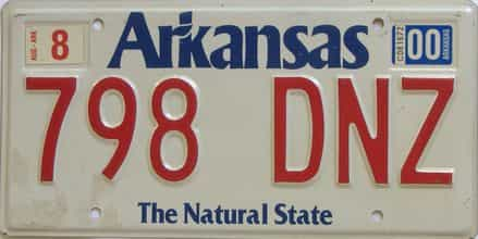 2000 Arkansas license plate for sale