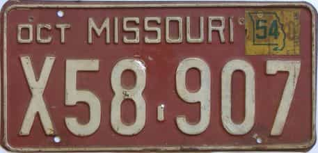 1954 Missouri license plate for sale