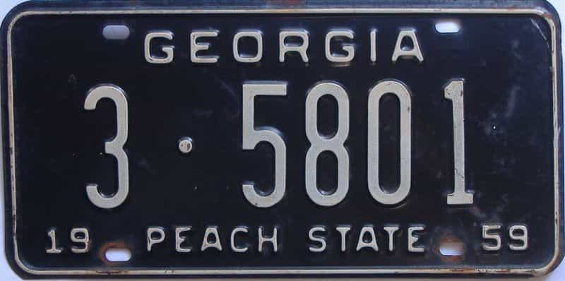 YOM 1959 Georgia (De Kalb) license plate for sale