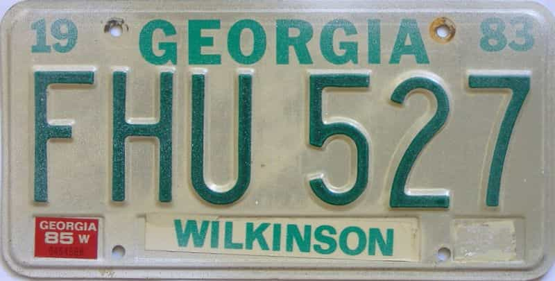 YOM 1985 Georgia  (Natural) license plate for sale