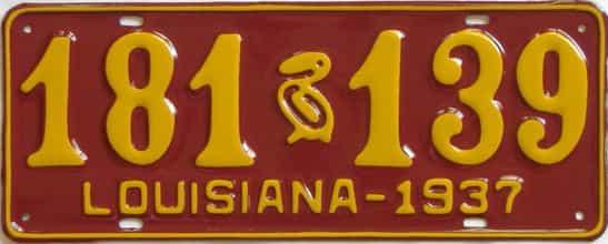 RESTORED 1937 Louisiana (Single) license plate for sale