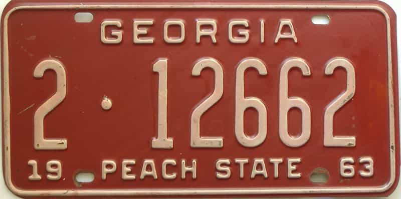 YOM 1963 Georgia (De Kalb) license plate for sale