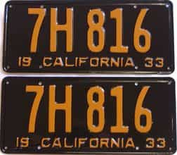 YOM RESTORED 1933 California (Pair) license plate for sale