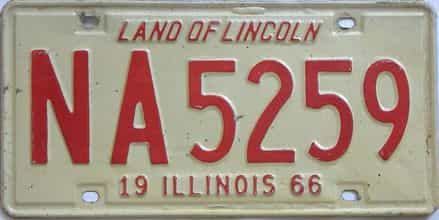 1966 Illinois  (Single) license plate for sale