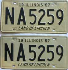 1967 Illinois  (Pair) license plate for sale