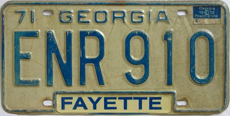 YOM 1973 Georgia license plate for sale