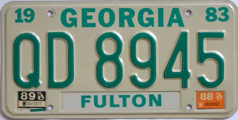 YOM 1989 Georgia  (Truck) license plate for sale