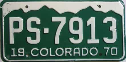 1970 Colorado (Single) license plate for sale
