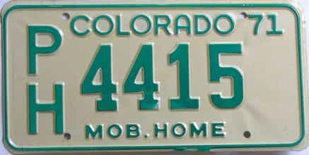 1971 Colorado (Non Passenger) license plate for sale