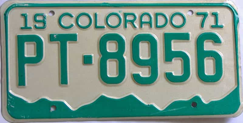 1971 Colorado  (Single) license plate for sale