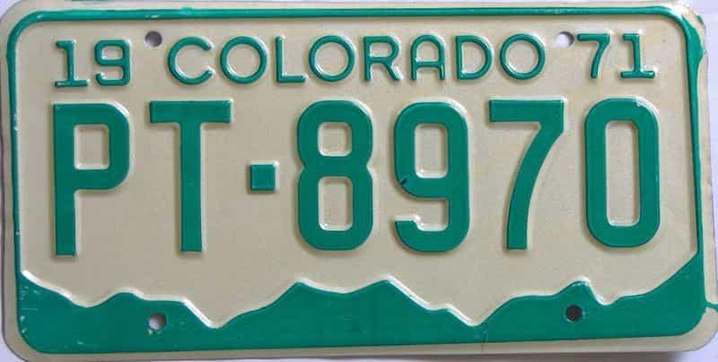 1971 Colorado  (Single) license plate for sale