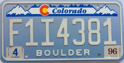 1996 Colorado (Natural Single) license plate for sale
