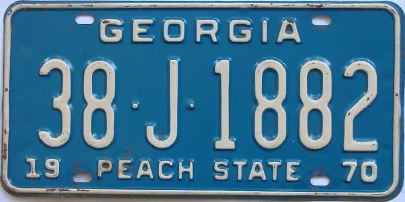 YOM 1970 Georgia (Newton) license plate for sale