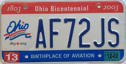 2002 Ohio (Natural Single) license plate for sale