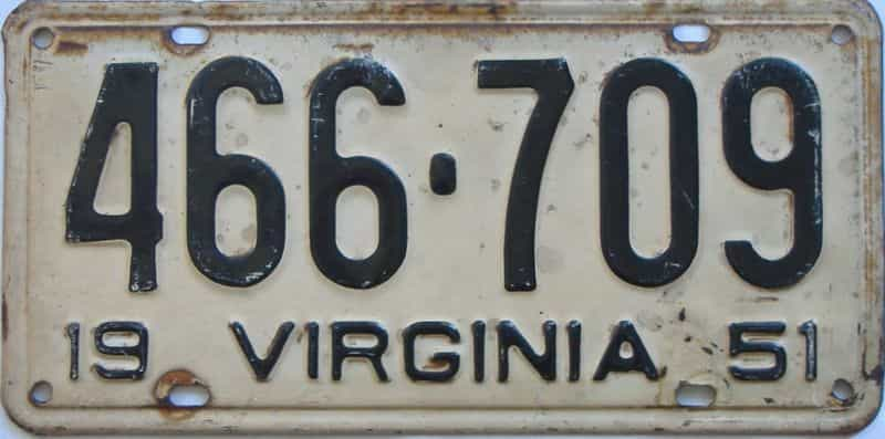 1951 Virginia  (Single) license plate for sale